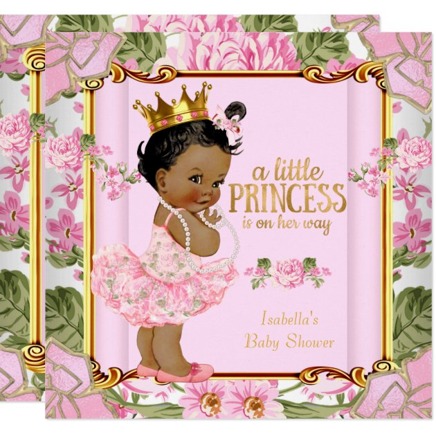 ethnic princess baby shower pink rose floral card | zazzle, Baby shower invitations