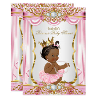 Ethnic Princess Baby Shower Pink Silk Gold Card