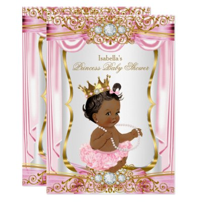 pink gold african american princess baby shower card   zazzle, Baby shower invitations