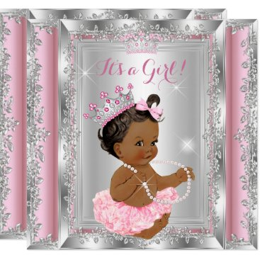 Toddler & Baby themed Ethnic Princess Baby Shower Pink Silver Tutu Card