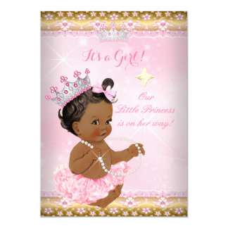 Ethnic Princess Baby Shower Pink Tutu Gold Tiara A 5x7 Paper Invitation Card