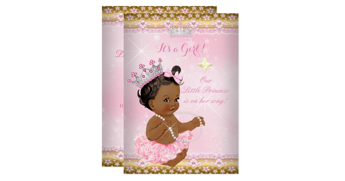 Ethnic Princess Baby Shower Pink Tutu Gold Tiara A Card