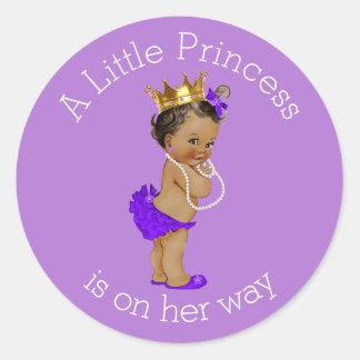 Ethnic Princess Baby Shower Purple Classic Round Sticker