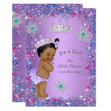 VintageBabyShop Ethnic Princess Baby Shower Purple Teal Blue Pink Card