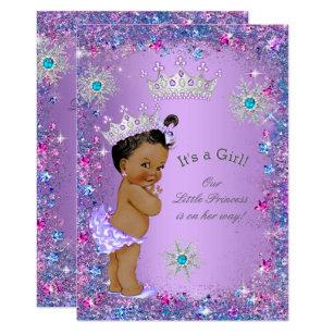 Purple baby shower invitations announcements zazzle ethnic princess baby shower purple teal blue pink invitation filmwisefo