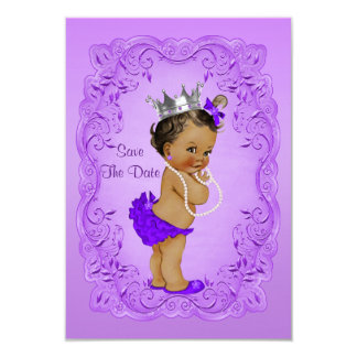 Ethnic Princess Baby Shower Save The Date Purple Card