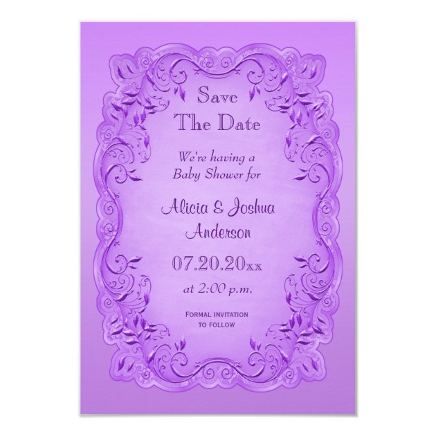 ethnic princess baby shower save the date purple card | zazzle, Baby shower invitations