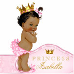 """Ethnic Princess Baby Shower Statuette<br><div class=""""desc"""">Ethnic African American baby girl beautiful pink and gold princess baby shower acrylic sculpture can be personalized and used as a cake top and table decoration and used in baby&#39;s nursery. This pretty pink princess baby shower decoration also makes a perfect personalized gift for a baby girl.</div>"""