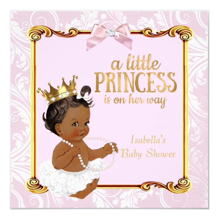 Ethnic Princess Baby Shower White Pink Gold Card   Zazzle