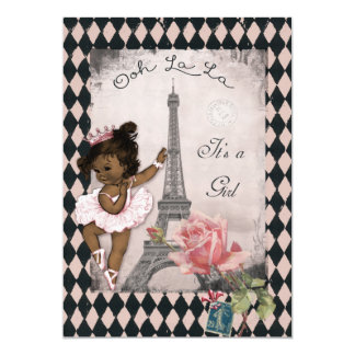 Ethnic Princess Ballerina Eiffel Tower Baby Shower 5x7 Paper Invitation Card
