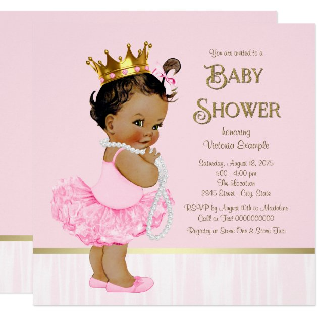 ethnic princess ballerina pink gold baby shower card