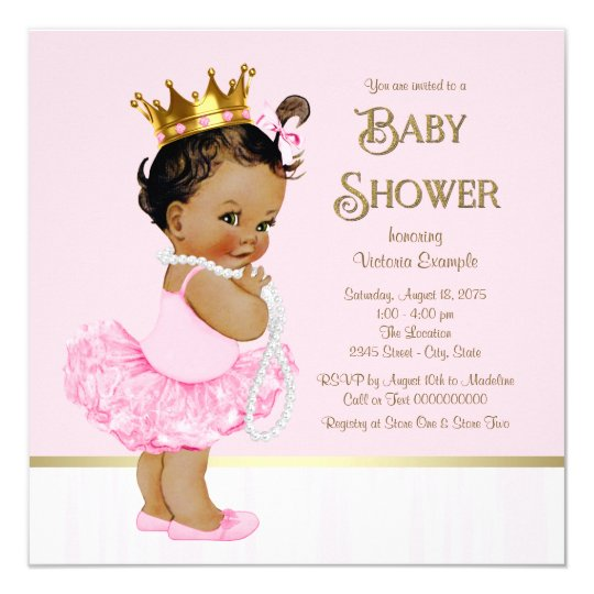 ethnic princess ballerina pink gold baby shower card | zazzle, Baby shower invitations