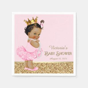 Ethnic Princess Ballerina Pink Gold Baby Shower Paper Napkin & Baby Shower Napkins | Zazzle