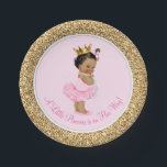 "Ethnic Princess Ballerina Pink Gold Baby Shower Paper Plate<br><div class=""desc"">Ballerina princess tutu baby shower paper plates with adorable ethnic princess baby girl wearing a tutu and string of pearls on a pink and gold background. These cute ballerina princess baby shower paper plates can be customized with text in the font style and color of your choice. You can also...</div>"