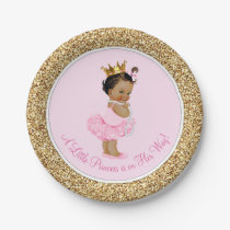 Ethnic Princess Ballerina Pink Gold Baby Shower Paper Plate