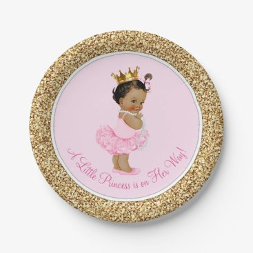 Toddler & Baby themed Ethnic Princess Ballerina Pink Gold Baby Shower Paper Plate