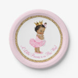 Ethnic Princess Ballerina Pink Gold Baby Shower Paper Plate<br><div class='desc'>Ballerina princess tutu baby shower paper plates with adorable ethnic princess baby girl wearing a tutu and string of pearls on a pink and gold background. These cute ballerina princess baby shower paper plates can be customized with text in the font style and color of your choice. You can also...</div>