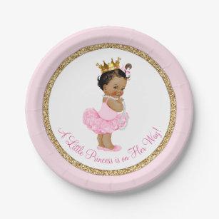 Ethnic Princess Ballerina Pink Gold Baby Shower Paper Plate  sc 1 st  Zazzle & Princess Plates | Zazzle