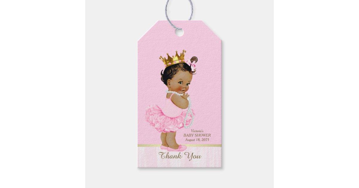 Ethnic princess ballerina pink tutu baby shower gift tags zazzlecom for Baby shower gift tags