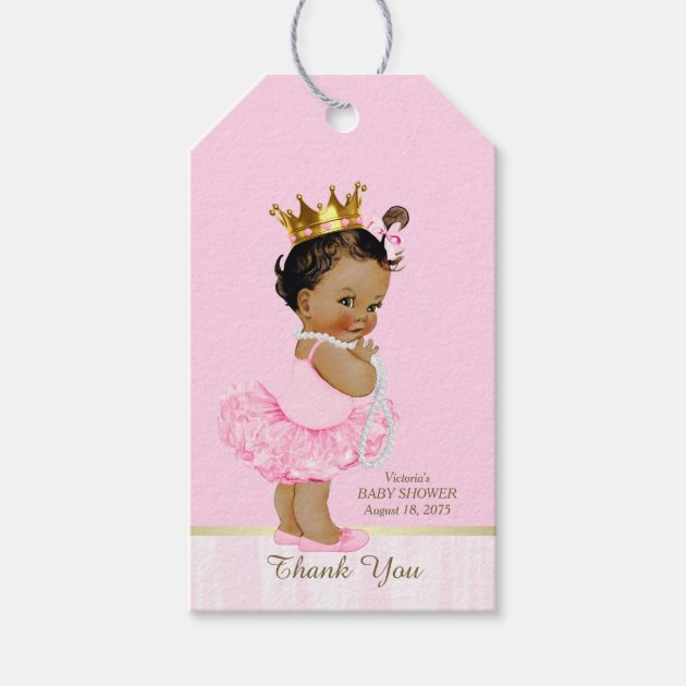 Ethnic Princess Ballerina Pink Tutu Baby Shower Gift Tags | Zazzle