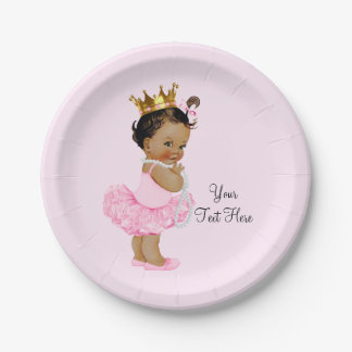 Ethnic Princess Ballerina Tutu Pearls Baby Shower 7 Inch Paper Plate