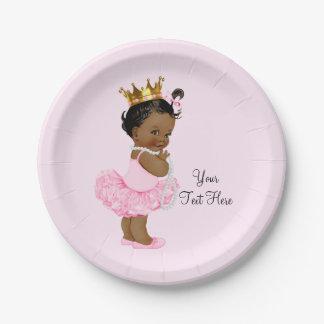 Ethnic Princess Ballerina Tutu Pearls Baby Shower Paper Plate