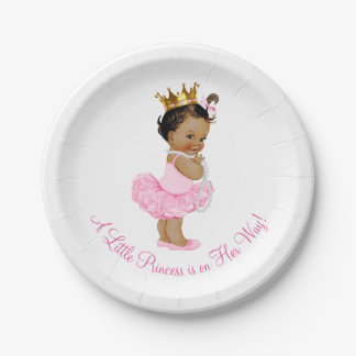 Ethnic Princess Ballerina Tutu Pearls Baby Shower Paper Plate