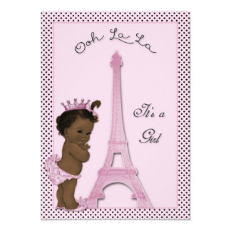 Ethnic Princess Eiffel Tower Polka Dot Baby Shower Card