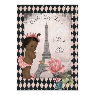 Ethnic Princess Eiffel Tower Rose Baby Shower 5x7 Paper Invitation Card