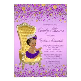 Ethnic Princess Lavender Gold Baby Shower Card