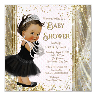 Ethnic Princess Little Lady Pink Gold Baby Shower Card