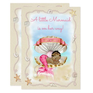 Beach Themed Ethnic Princess Mermaid Clam Shell Baby Shower Card