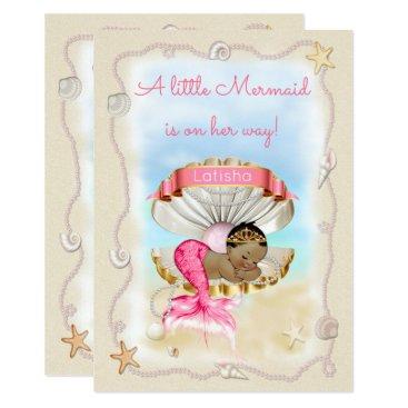Beach Themed Ethnic Princess Mermaid Name on Clam Shell Card