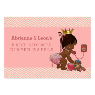 Ethnic Princess on Phone Chevrons Diaper Raffle Large Business Cards (Pack Of 100)