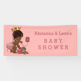Ethnic Princess on Phone Personalized Baby Shower Banner