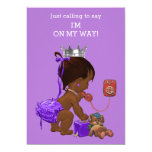 "Super Cute ""Just Calling To Say"" Baby Shower Invitation (African American Girl)"