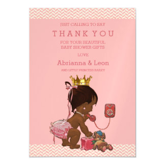 Ethnic Princess on Phone Teddy Chevrons Thank You Magnetic Card