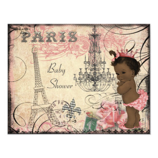 Ethnic Princess Paris Eiffel Tower Baby Shower 4.25x5.5 Paper Invitation Card