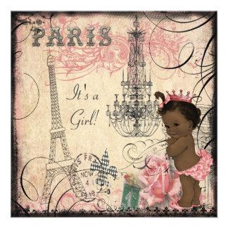 Ethnic Princess Paris Eiffel Tower Baby Shower Custom Announcement