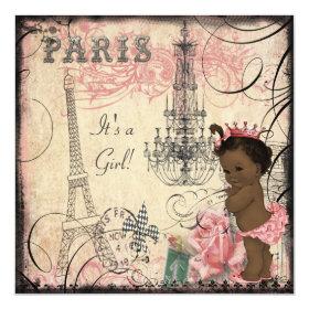 Ethnic Princess Paris Eiffel Tower Baby Shower 5.25x5.25 Square Paper Invitation Card