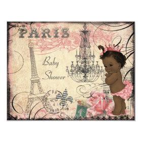 Ethnic Princess Paris Eiffel Tower Baby Shower 4.25x5.5 Paper Invitation Card