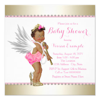 Ethnic Princess Pearl Pink Gold Angel Baby Shower Card