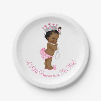 Ethnic Princess Pearls Baby Shower Paper Plate
