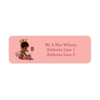 Ethnic Princess Phone Teddy Suitcase Baby Shower Label