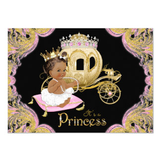 Ethnic Princess Pink Black Baby Shower Invitations