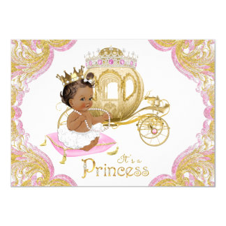 Ethnic Princess Pink Gold Baby Shower Invitations