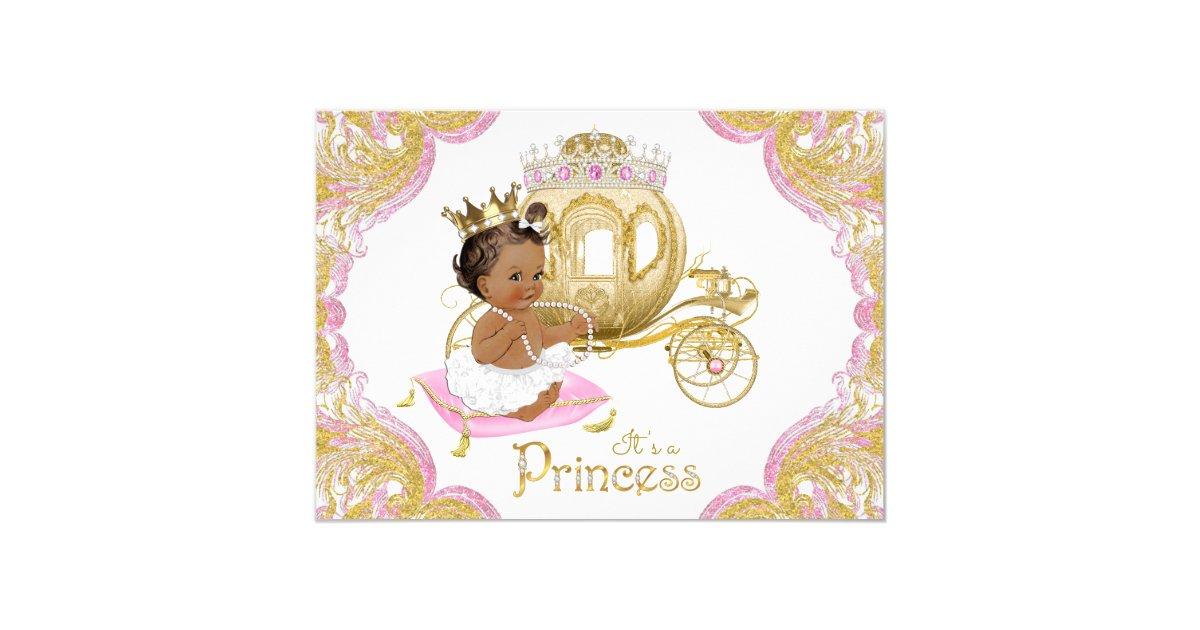 Ethnic Princess Pink Gold Baby Shower Invitations   Zazzle.com