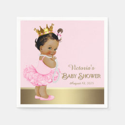 Ethnic Princess Pink Gold Baby Shower Paper Napkin