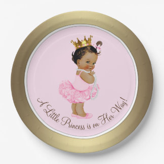 Ethnic Princess Pink Gold Baby Shower Paper Plate