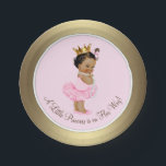 "Ethnic Princess Pink Gold Baby Shower Paper Plate<br><div class=""desc"">Pink and gold princess tutu baby shower paper plates with adorable ethnic princess baby girl wearing a tutu and string of pearls on a pink and gold background. These cute ballerina princess baby shower paper plates can be customized with text in the font style and color of your choice. You...</div>"